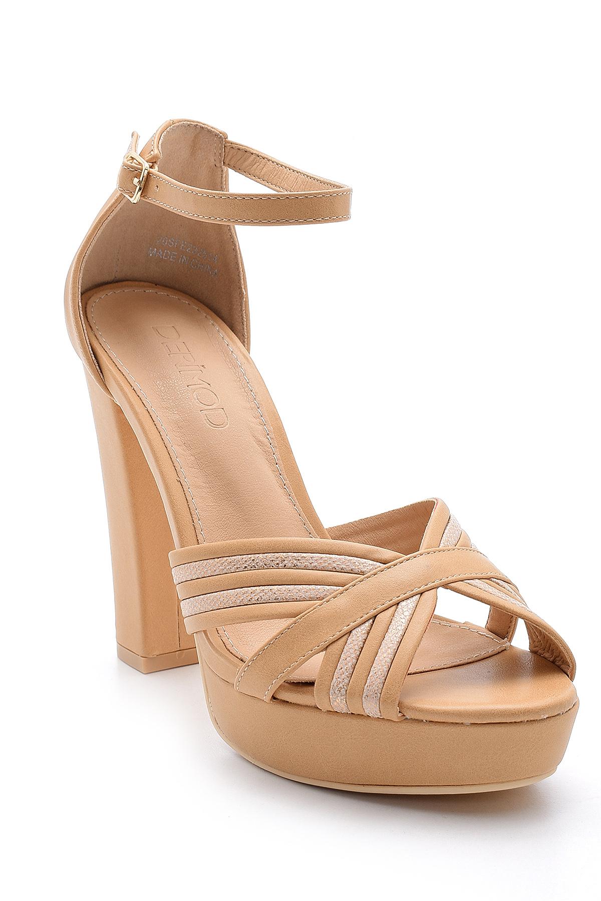 Bej Kadın Topuklu Sandalet 5638136145
